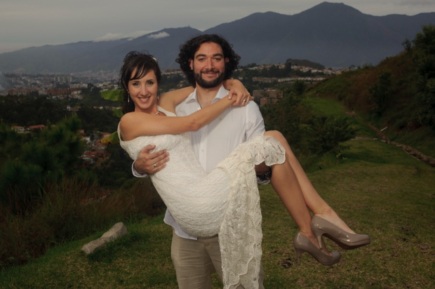 Mafe and Leon pose for a portrait at their wedding day. 23, December 2012.